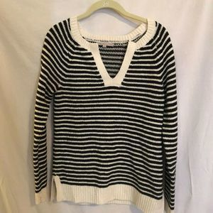 Gap Wool Blend Sweater Black and White Stripes